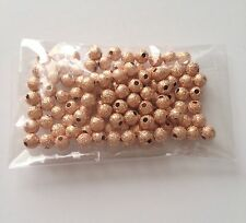 100 pcs Spacer Glitter Beads Round Brass 4mm Bead Jewelry Making Rose Gold 67B