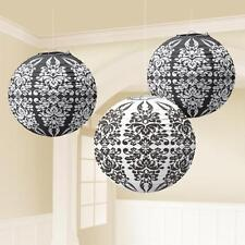 Black & White Damask Printed Hanging Lantern Decorations x 3