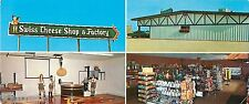 c1960s Swiss Cheese Shop Factory, Monroe, Wisconsin Panorama Adv Postcard