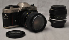 Nikon FM10 35mm SLR Film Camera w 2 Nikkor Lenses 35mm f2 & 35-70mm f3.5-4.8