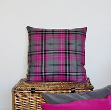 """CUSHION COVER TARTAN CHECK CERISE PINK GREY COUNTRY BALMORAL STYLE VINTAGE 18"""""""