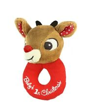 """Rudolph 5"""" Plush BABY'S FIRST CHRISTMAS LOOP RATTLE, RUDOLPH ~NEW~"""