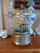 Vintage Singing Bird Cage Automaton Music Box One Yellow Bird Works/ see videos