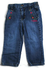 GUESS Girls Kids Clothes Denim Blue Elastic Waist FLOWERS Pants Jeans 24 Months