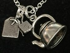 "Tea Pot Large 3D And Tea Bag Charm Tibetan Silver with 18"" Necklace BIN"
