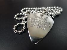 Metallica Hand carving Stainless Steel Guitar Pick Necklace
