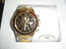 BNWT Para Hombre De Oro/Negro ANDRE 'BELFONT Le sublime Kendor van Noé sellado Reloj
