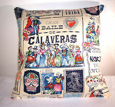 "BRAND NEW CALAVERAS BLUE MEXICAN DAY OF THE DEAD  CUSHION COVER 16""X16"""