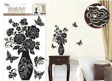 ELEGANT ILLUSIONS wall stickers w/Glitter & Gems VASE flowers 6 big decals decor