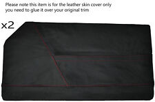 RED STITCHING 2X FULL DOOR CARD LEATHER SKIN COVERS FITS BOND EQUIPE