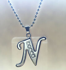 Fashion letters N name silver plated crystal pendant necklace chain JEWELRY N