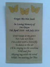 10 Personalised Forget Me Not Seed Favours - Funeral / Memorial Butterflies Poem