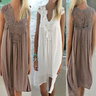 Sexy Womens Summer Casual Sleeveless Boho Loose Ladies Beach Mini Dress Sundress