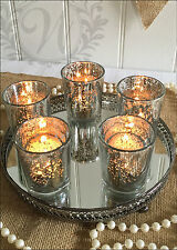 Silver Votive Mirror Base Glass Votive Tea Light Candle Holder Decoration Tray