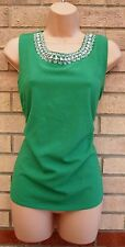 DOROTHY PERKINS GREEN DIAMONTE BEADED COLLAR ELEGANT  T SHIRT TUNIC TOP BLOUSE L