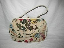 Vintage JANA Bag Needlepoint TAPESTRY Leather Wool Carpet Purse ITALY 1950-1960