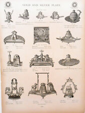 Catalog Page Meriden Britannia Co Ink Pen Stands Cats Scales Silver Gold 1886