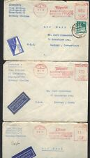GERMANY U.S. 1949 POST WAR THREE STUTTGART METER COVERS TO DANBURY CT.