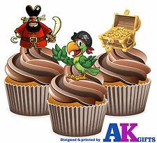 12 X Pirate Parrot Treasure Birthday Party Cup Cake Toppers Edible Decorations