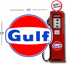 "(GULF-3) 12"" GULF GASOLINE GAS PUMP OIL TANK DECAL"