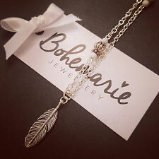 18 Inch white howlite feather charm necklace gemstone bijoux jewellery boho