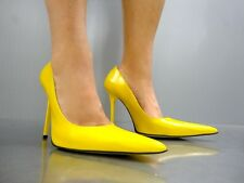 MADE IN ITALY LUXUS HEELS POINTY PUMPS SCHUHE LEATHER DECOLTE GIALLO YELLOW 44