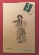 CPA. 1er AVRIL. Petite Fille Style Viennois. Poisson. 1906?
