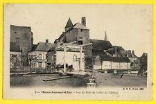 cpa Ecrite en 1907 MENNETOU sur CHER Vue du PONT LEVIS du CANAL du CHÂTEAU