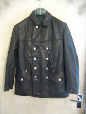 VINTAGE POST WW2 GERMAN LEATHER POLICE OFFICERS JACKET SIZE S PEA COAT ZIPP ZIPS