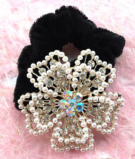 ConMiGo HR0075 white crystals, sequins and peals flower scrunchie