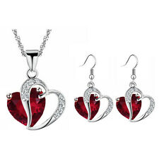 Red Zircon Two Hearts Jewellery Set Drop Earrings & Necklace Valentine Day S855