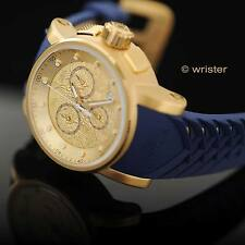 Invicta S1 Rally Dragon Yakuza 18k Gold IP Chronograph Blue Silicone Men's Watch