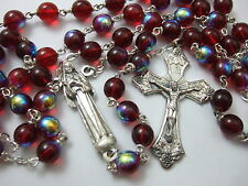 Catholic Rosary large 8mm ruby red glass beads ST. RITA statue center medal