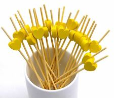 Pack of 100 12CM Wooden Disposable Toothpicks with Yellow Heart