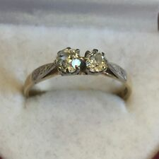 Vintage Solid 18ct Gold 2 Stone European Cut Diamond Engagement Ring Size Q