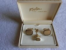 Vintage Foster Fine Jewelry Gold Plated Black Enamel Cuff Links Tie Tack Pin Set