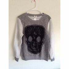 Authentic LF stores long sleev gray corchet skull sweatshirt Knit top NWT size S