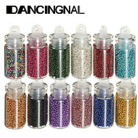 12X Mini Bottles Nail Art Caviar Beads Balls Glitter Metal Manicure Decoration