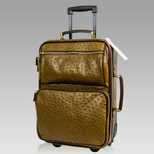 Terrida Italian Designer Brown Ostrich Leather Suitcase Carryon Wheeled Luggage