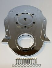 BBC 454 Chrome Aluminum 2-Piece Timing Cover W/ Inspection Plate BB Chevy 396