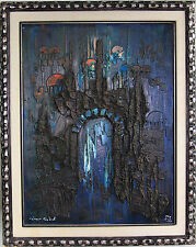 1970 Abstract Expressionist Brutalist Painting, NACHUM ARBEL, Israeli 1928-2010