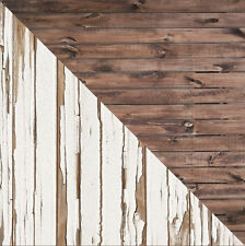 Reversible White Peeled and Brown Wood Faux Floor Backdrop 3ft x 4ft #11340836