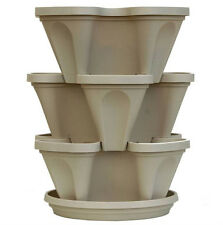 3 Tier Indoor Vertical Stackable Vegetable Flower Herb Garden Planter Pot: White