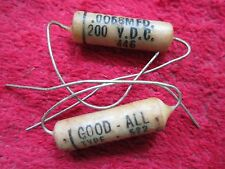 2 VINTAGE NOS GOOD ALL .0068 MFD, 200VDC WAX CAPACITOR