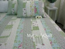 Olive Green Blue Country Roses Patchwork BEDSPREAD Quilt 3pcs Set Queen Clr-Flaw