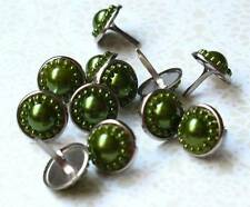 14mm VINTAGE PEARL Brads - OLIVE Scrapbook CardMaking Craft 10pc