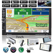 "7"" 2 DIN HD Bluetooth Touch Car Stereo Radio MP3 MP5 Player GPS Nav USB/SD/FM/TV"