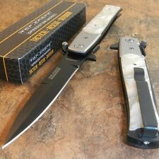 TAC-FORCE Spring Assisted Opening WHITE PEARL STILETTO Folding Pocket Knife NEW