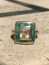 2 Carat Yellow Square mine Cut Sapphire ring with square cut emerald surround