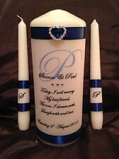 Personalised Wedding / Civil Ceremony Unity Candle Set White Or Ivory Candle